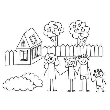 Happy family with children. Kids drawing style vector illustration. Mother, father, sister, brother Standard-Bild - 126864726