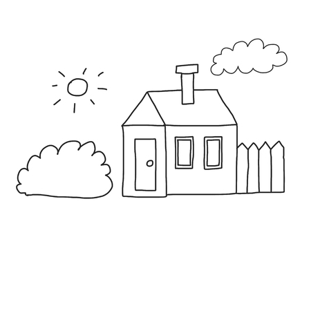 Vector house Coloring page, book. Kids drawing style Illustration