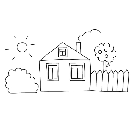 Vector house Coloring page, book. Kids drawing style Vectores