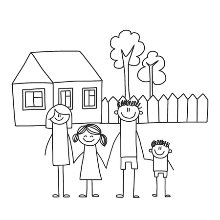 Happy family with children. Kids drawing style vector illustration. Mother, father, sister, brother Standard-Bild - 126864733