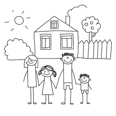 Happy family with children. Kids drawing style vector illustration. Mother, father, sister, brother Stockfoto - 126864735