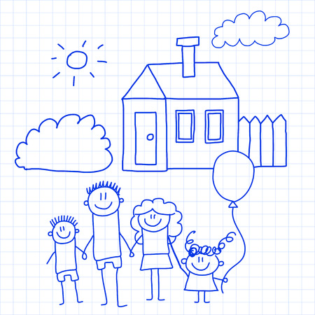 Happy family with small children and house Stockfoto - 126864738
