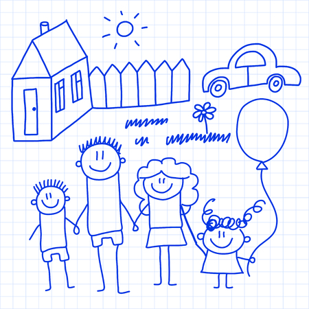 Happy family with small children and house Reklamní fotografie - 126864741