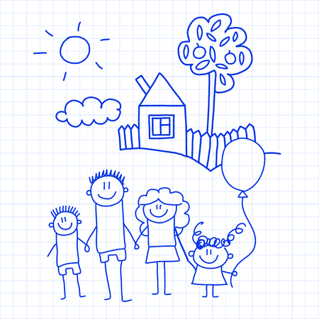 Happy family with small children and house Kids drawing vector illustration Blue ink pen image on checked notepad, notebook paper.