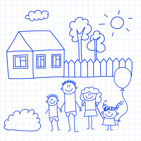 Happy family with small children and house Reklamní fotografie - 126864743