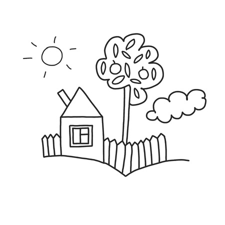 Vector house Coloring page, book. Kids drawing style  イラスト・ベクター素材