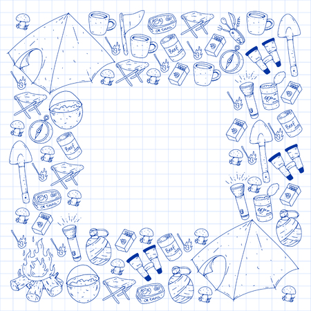 Camping, hiking, scouts. Vector set of doodle icons. Adventure at forest and nature with compass, tent, tincans. Pattern with colorful elements