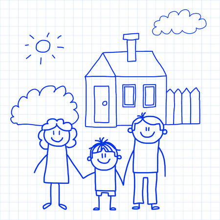 Happy family with small children and house