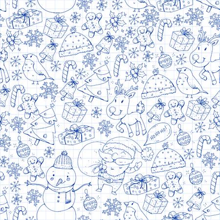 Winter Christmas seamless pattern. Icons of Santa, snowman, deer, bell Christmas tree