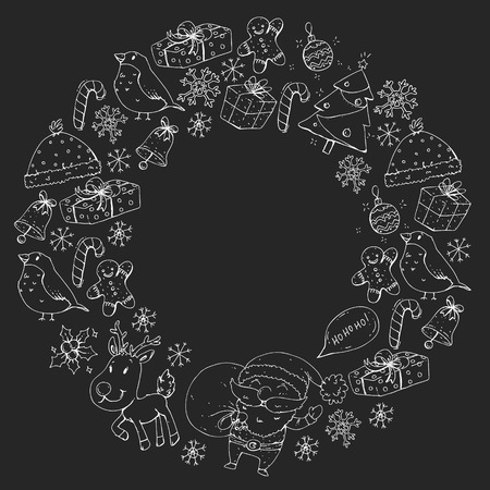 Winter Christmas vector pattern. Icons of Santa, snowman, deer, bell Christmas tree