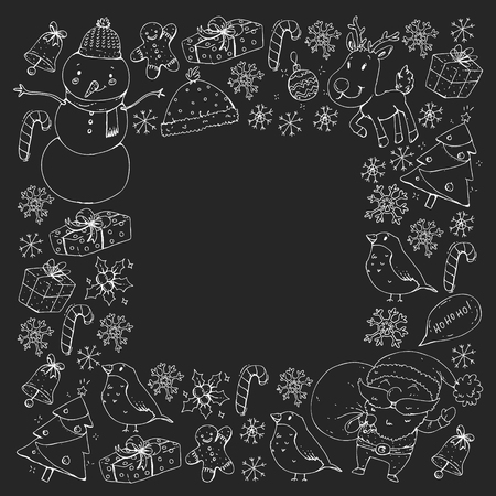 Winter Christmas vector pattern. Icons of Santa, snowman, deer, bell Christmas tree Stockfoto - 126813694