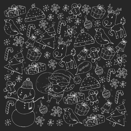 Zima Boże Narodzenie wektor wzór. Ikony Świętego Mikołaja, bałwana, jelenia, dzwonka choinki
