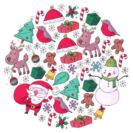 Winter Christmas vector pattern. Icons of Santa, snowman, deer, bell Christmas tree