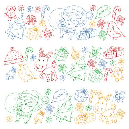 Winter Christmas vector pattern. Icons of Santa, snowman, deer, bell, Christmas tree. Merry Christmas Happy new year Stock Illustratie
