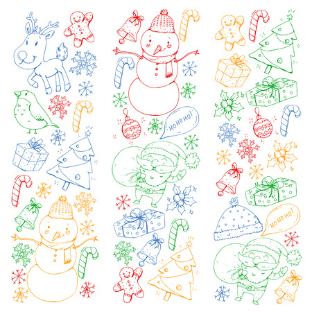 Winter Christmas vector pattern. Icons of Santa, snowman, deer, bell, Christmas tree. Merry Christmas Happy new year Illustration