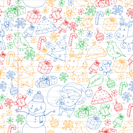 Winter Christmas seamless pattern. Icons of Santa, snowman, deer, bell Christmas tree