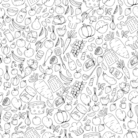 Kitchen and cooking seamless pattern. Icons of food and drink Stock Vector - 126814138