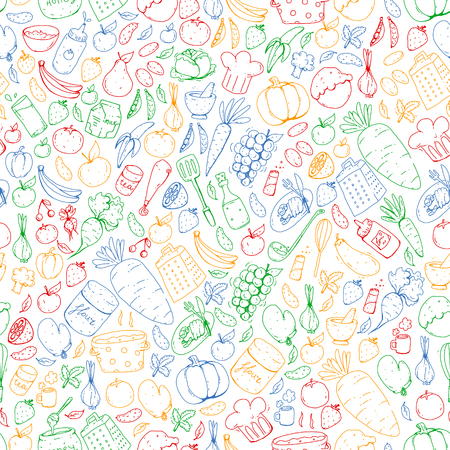 Kitchen and cooking seamless pattern. Icons of food and drink.
