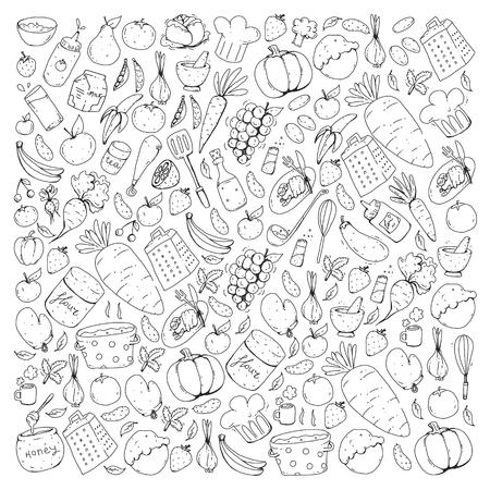 Cuisine et cuisson modèle sans couture. Icônes de nourriture et de boissons. Images colorées pour papier d'emballage, textile, tissu.