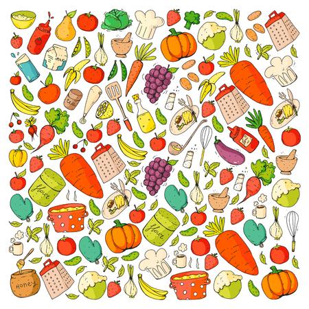 Küche und Kochen nahtlose Muster. Ikonen von Speisen und Getränken. Vektorgrafik