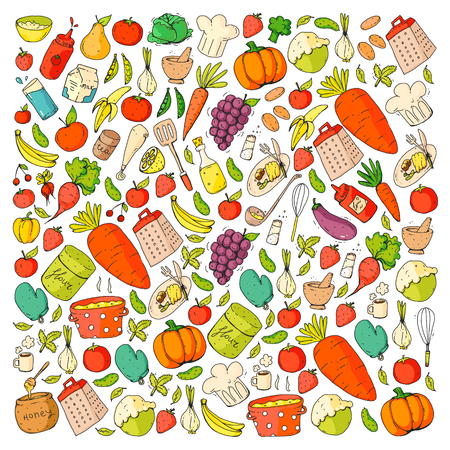Kitchen and cooking seamless pattern. Icons of food and drinks. Vetores