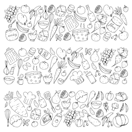 Kitchen and cooking seamless pattern. Icons of food and drinks. Colorful images for wrapping paper, textile, fabric.