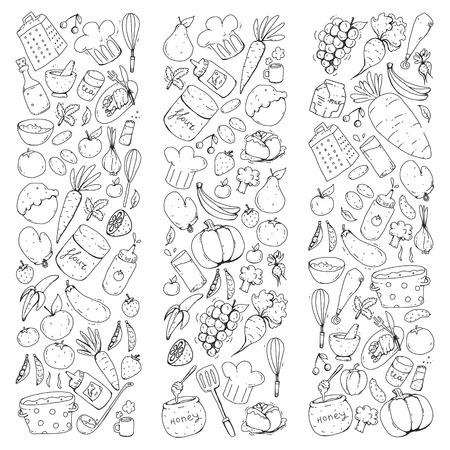 Cucina e cucina senza cuciture. Icone di cibo e bevande. Immagini colorate per carta da imballaggio, tessile, tessuto.