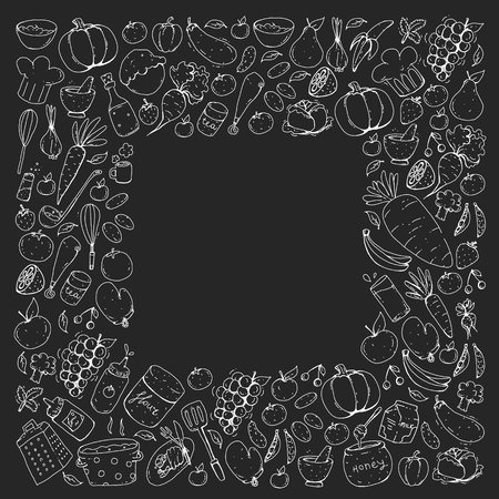 Kitchen and cooking seamless pattern. Icons of food and drinks