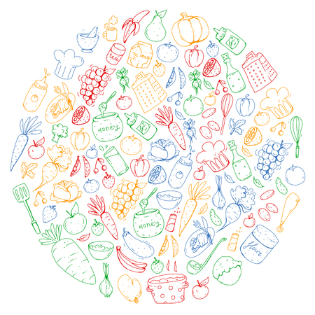 Kitchen and cooking seamless pattern. Icons of food and drinks. Colorful images. Illustration