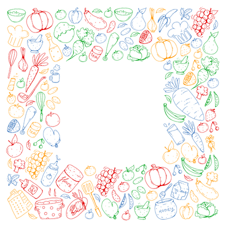 Kitchen and cooking seamless pattern. Icons of food and drinks. Colorful images. Ilustração