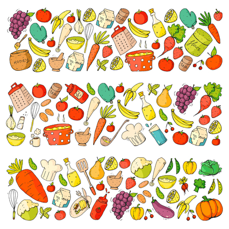 Kitchen and cooking seamless pattern. Icons of food and drinks.