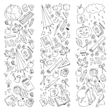 Vector seamless pattern with school and education icons.  イラスト・ベクター素材