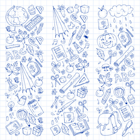 Vector seamless pattern with school and education icons. Illustration