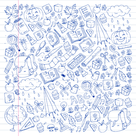 Vector seamless pattern with school and education icons