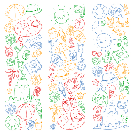 Beach and travel. Vector icons with summer vacation elements.