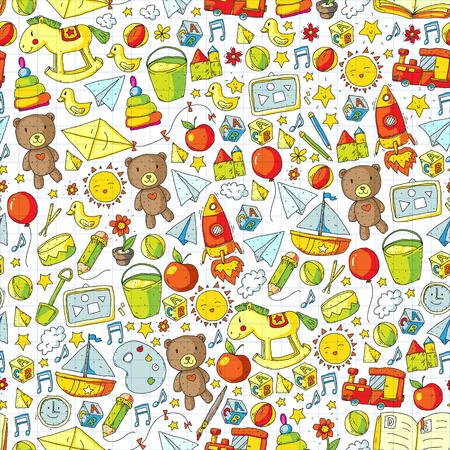 Patrón transparente de vector de jardín de infantes con juguetes y artículos para la educación
