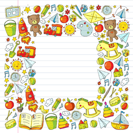 Kindergarten Vector pattern with toys and items for education. Foto de archivo - 115449303