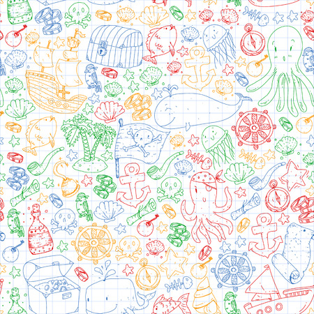 Vector pirate pattern for small boys and girls. Kindergarten, birthday party. Wallpaper for children room, wrapping paper Stock Illustratie