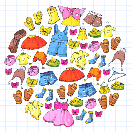 Children clothing and fashion. Dress, skirt, shorts. scarf, trousers for boys and girls. Kids fashion. Summer, winter spring autumn sale Illustration