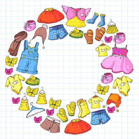 Children clothing and fashion. Dress, skirt, shorts. scarf, trousers for boys and girls. Kids fashion. Summer, winter spring autumn sale 向量圖像