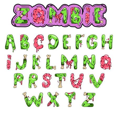 Fuente Zombie. Letras de vector verde de dibujos animados con cerebros y huesos. Monstruo, halloween, imagen de miedo.