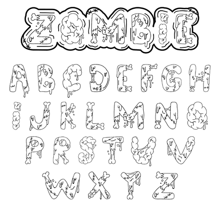 Zombie font. Cartoon green vector letters with brains and bones. Monster, halloween, scary picture. Ilustração