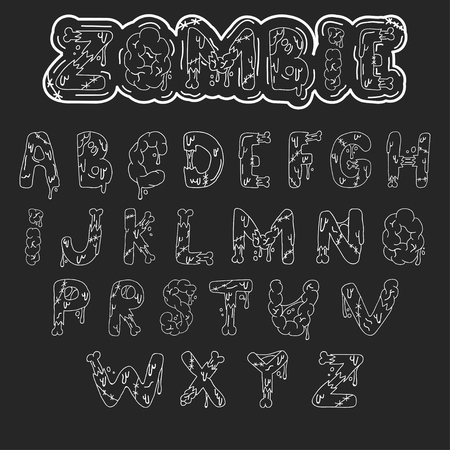 Zombie font. Cartoon green vector letters with brains and bones. Monster, halloween, scary picture. Illustration