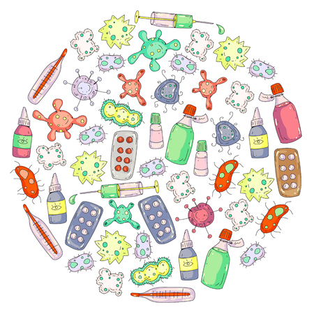 Cough, pills, influenza, flu, sickness. Vector pattern with doodle icons Healthcare and medicine Foto de archivo - 126547991
