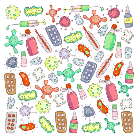 Cough, pills, influenza, flu, sickness. Vector pattern with doodle icons Healthcare and medicine Reklamní fotografie - 126547992