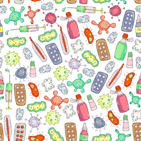Cough, pills, influenza, flu, sickness. Vector pattern with doodle icons Healthcare and medicine Ilustracja