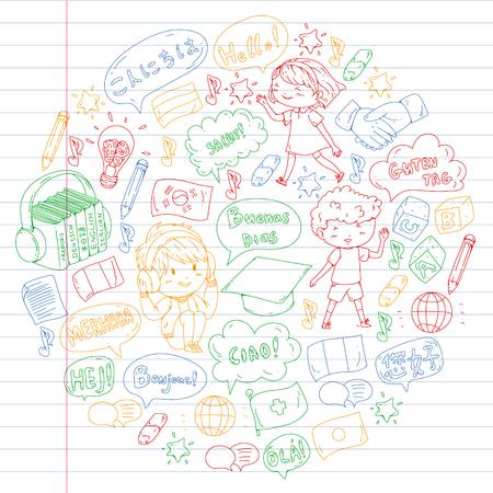 Language school for adult, kids. Children courses. English, Italian, Spanish, Japanese Chinese Arabic German Play and study Illustration