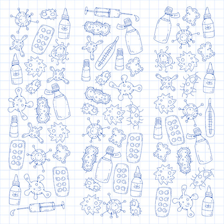 Cough, pills, influenza, flu, sickness. Vector pattern with doodle icons Healthcare and medicine Foto de archivo - 126527392