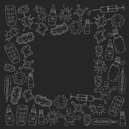 Cough, pills, influenza, flu, sickness. Vector pattern with doodle icons Healthcare and medicine Stockfoto - 126527404