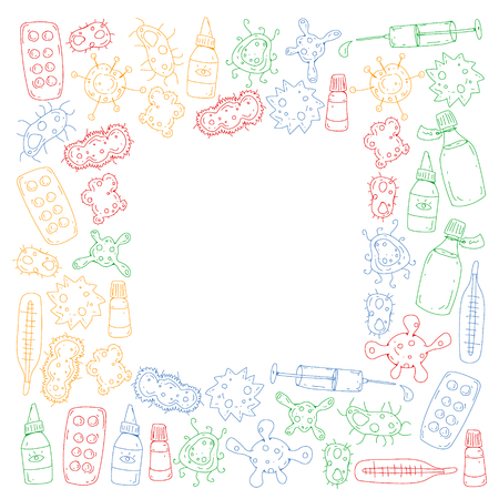 Cough, pills, influenza, flu, sickness. Vector pattern with doodle icons Healthcare and medicine Ilustrace